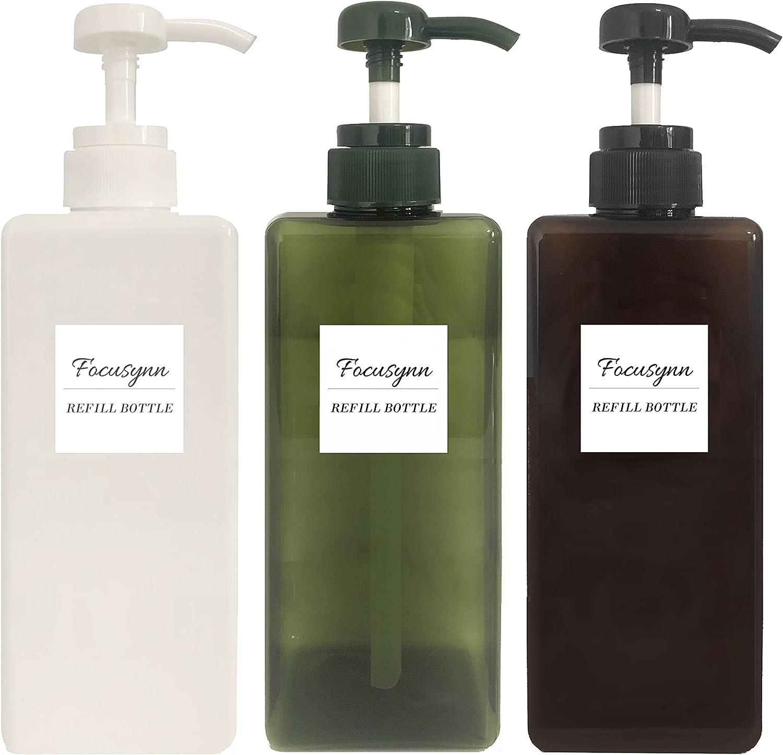Focusynn Botellas dispensadoras de Jabón. Botellas de Bomba de Plástico, Recipientes vacíos rellenables para Jabón, Champú, Detergente Líquido (3 Piezas 650ml)