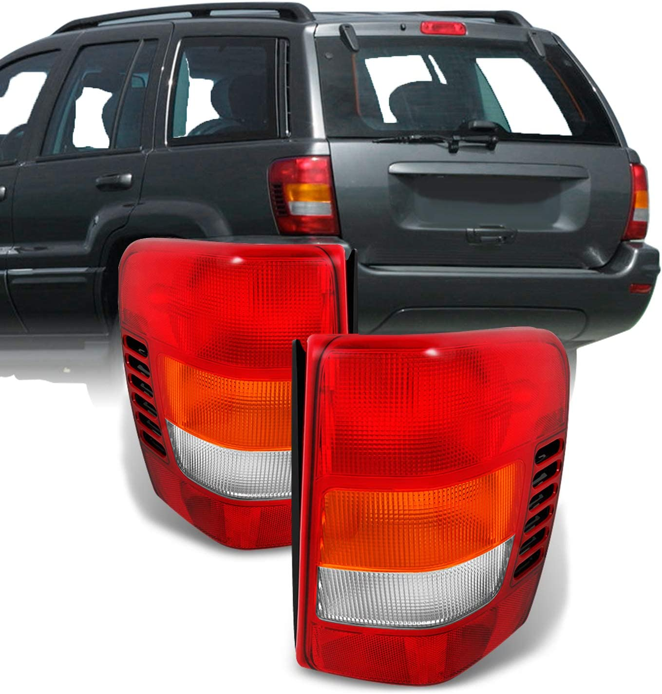 For 1999-2004 Jeep Grand Cherokee Tail Brake Lights Lamps w//Circuit Board Left+Right ACANII