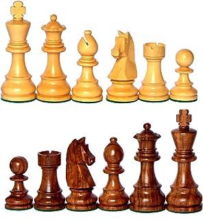 """StonKraft 3.75"""" King Height - Collector Edition Premium Wooden Staunton Chessmen Chess Pieces Staunton Standard"""