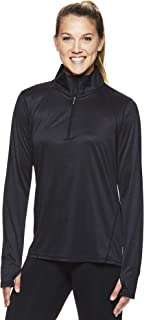 Women's 1/2 Zip Up Pullover Track Jacket - Long Sleeve Running Workout & Warm Up Sweater