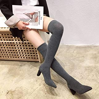 None/Brand 4 Colors Ladies Over The Knee Socks Boots Autum Thick Heel Knit Socks Boots Pointed Toe Elasitc Slim Botas Mujer