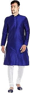Lakkar Haveli Men's Silk Kurta Casual Shirt Casual Tunic Royal Blue Plus Size
