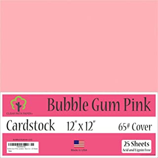 Bubble Gum Pink Cardstock - 12 x 12 inch - 65Lb Cover - 25 Sheets
