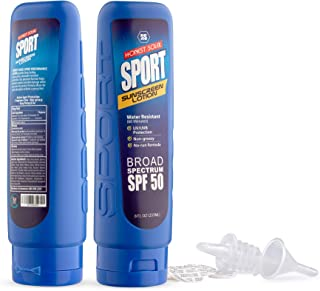 Sport Hidden Sunscreen Alcohol Flask 2-pack Including Funnel and Spout w/Protection Seals - 8 oz. Flasks for Liquor Funny Alcohol Gag Gift Ideas for Men and Women - Booze Smuggler
