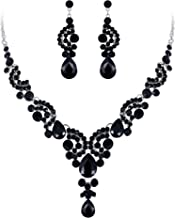 EVER FAITH Austrian Crystal Bridal Floral Wave Teardrop Necklace Earrings Set