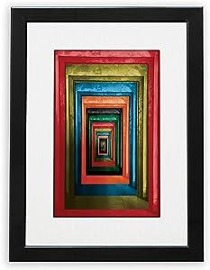 NUSNOS Framed Wall Art; DOORS! Color Abstract Wall Art Printed on Art Paper with Black Wooden Frame & Plexiglas, Black Aesthetic Framed Art for Modern Home Decor & Office [9.75