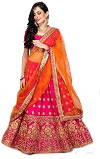 aaf558a2c6 Suppar Sleave Women's Embroidered Taffeta Satin Lehenga Choli with Blouse  Piece (Pink.Orange,