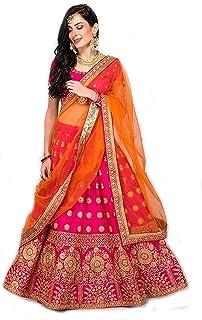 00ddd8eedb Suppar Sleave Women's Embroidered Taffeta Satin Lehenga Choli with Blouse  Piece (Pink.Orange,