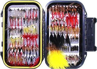 Surtido de cebo hechos a mano para pesca con mosca, moscas artificiales para pesca de trucha y trucha alpina, con caja impermeable