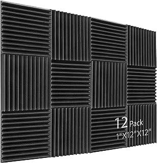 Geluid absorber akoestisch schuim, 12 stuks zwart akoestisch schuim voor podcasts, opname studio's, kantoren, thuis leren,...