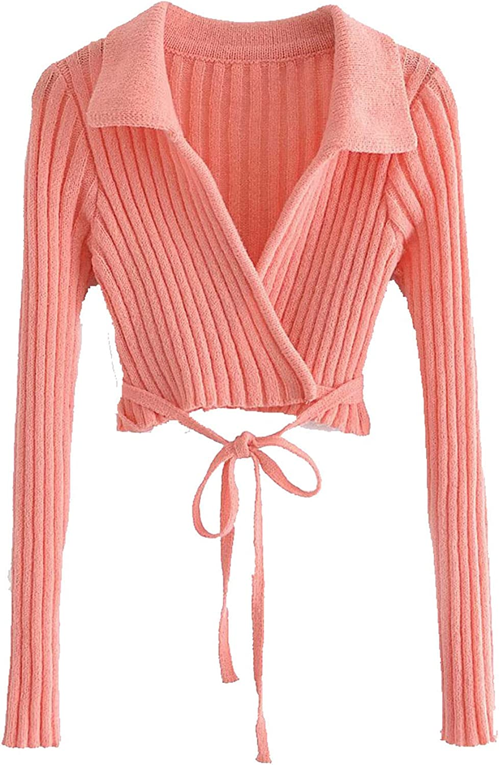 Sweater for Women Lace Up Crop Shrug Sweaters V-Neck Tight Long Sleeve Cardigan Knit Sweaters