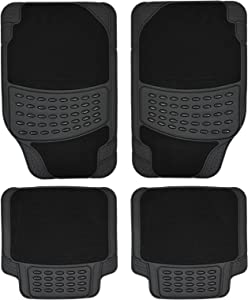 Heavy Duty Universal Car Mats Rubber and or Carpet Non Slip Choose Your Style Pieces Rubber Carpet