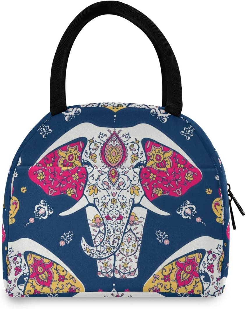 ALAZA Mandala Indian Elephant Navy Insulated At Brand new the price of surprise Bag Tote Lunch Blue