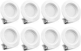 "Bioluz LED 4"" LED Retrofit Recessed Light 65W Equivalent (Using 10W) 700 Lumen, 90 CRI, Dimmable, UL-Listed CEC JA8 Title 24 Compliant (8-Pack, 3000K Soft White)"