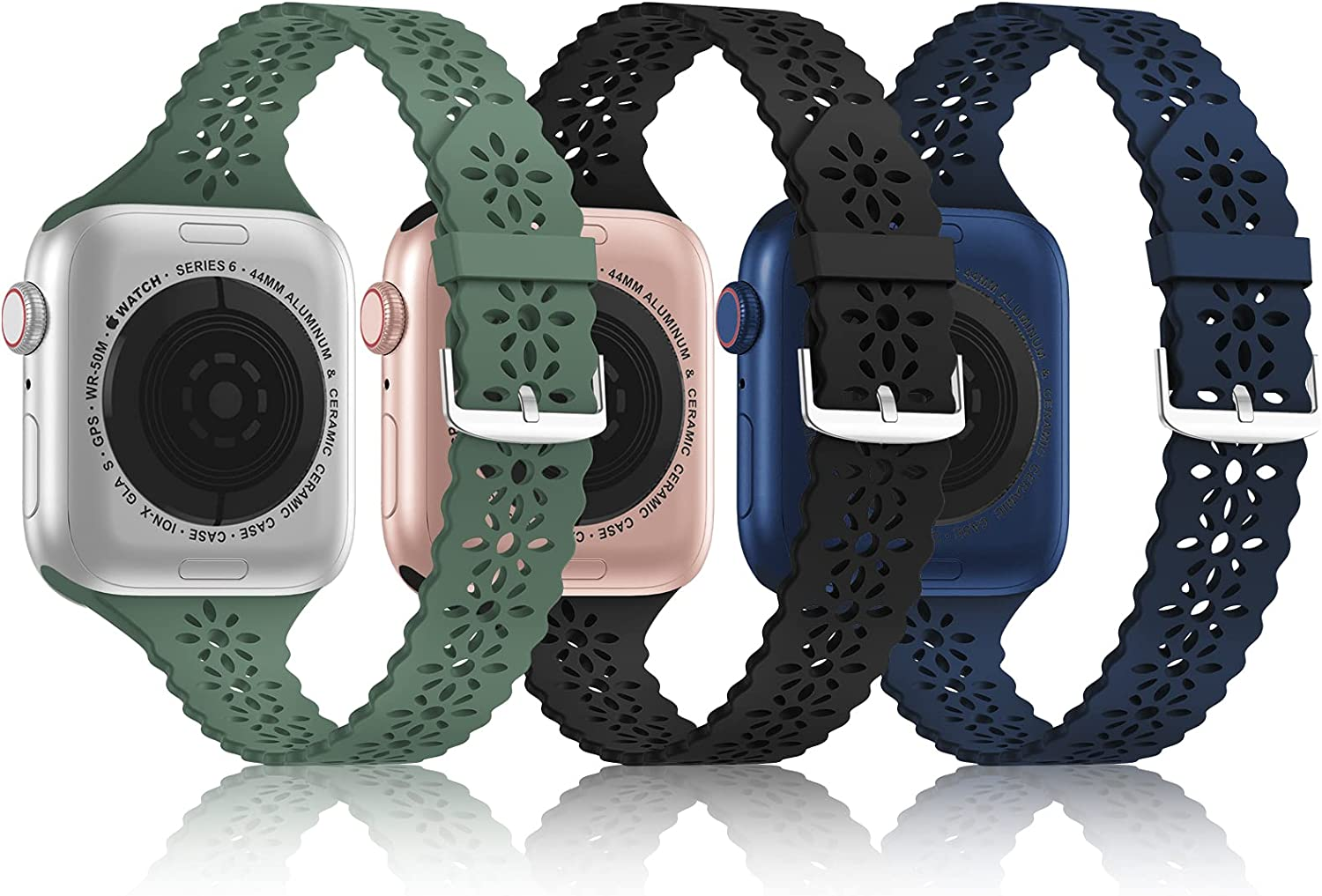 [3Pack]Bandiction Slim Lace Band Compatible With Apple Watch Bands 38mm 40mm 42mm 44mm for Women and Men, Silicone Wristbands Strap Replacement for iWatch Series6/5/4/3/2/1/SE