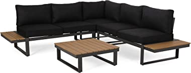 Christopher Knight Home Stacy Outdoor Aluminum V-Shaped 5 Seater Sofa Set with Cushions, Dark Gray, Gray, and Natural