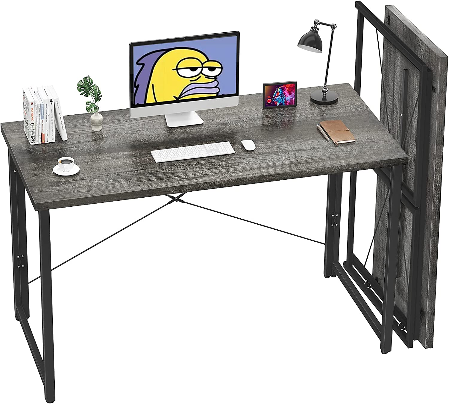 Unikito Folding Computer Desk 41 Inch No Assembly Small Work Desk for Home Office Simple Writing Desk Foldable Desk for Small Spaces, Workstation | Grey Oak