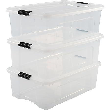 Iris Ohyama, lot de 3 boîtes de rangement empilables - New Top Box NTB-30 - Plastique, transparent, 30 L, 58 x 39,5 x 20,5 cm
