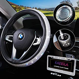 Bling Car Accessories Set for Women,Diamond Steering Wheel Cover Universal Fit 15 Inch,Crystal License Plate Frame,Sparkly Dual USB Car Charger Adapter With QC3.0 Port,Rhinestone Ring Emblem Sticker