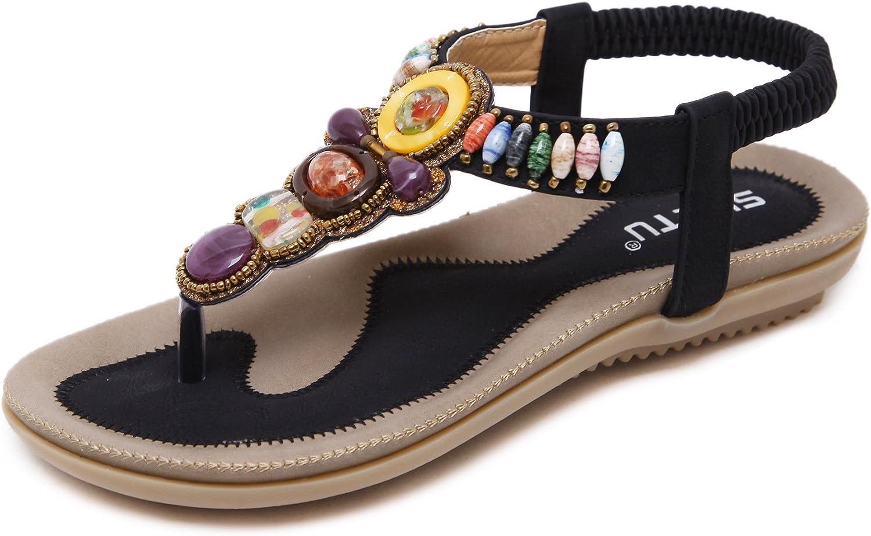 Navoku Women's Beaded Leather Flat Skidproof Thong Sandals