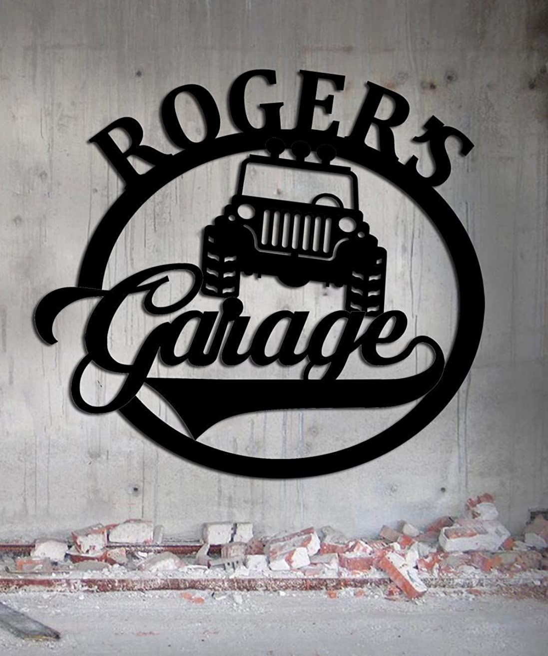 Jeep Garage - Personalized Sign - Metal Wall Art- Customize It!- Metal Wall Art Man Cave Grandpa's Dad's Or Custom Name