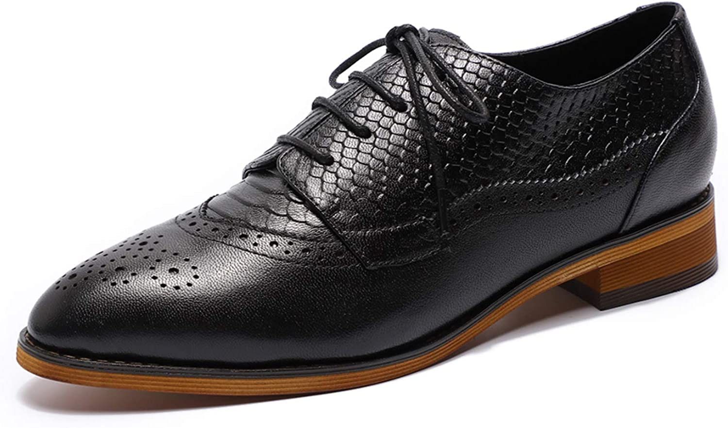 MIKCON Women's Leather Super sale Oxford Dress Department store Up Oxf Perforated Lace Shoes