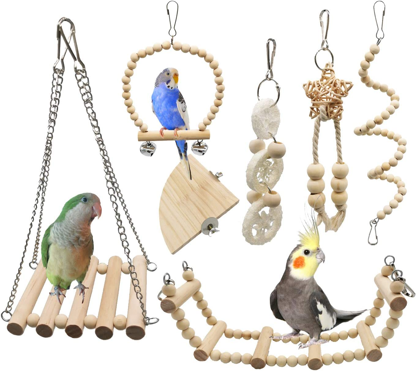 G-HY 7 Pieces of Bird Parrot Play Pure 55% OFF Toys N Chewing Ultra-Cheap Deals Swinging
