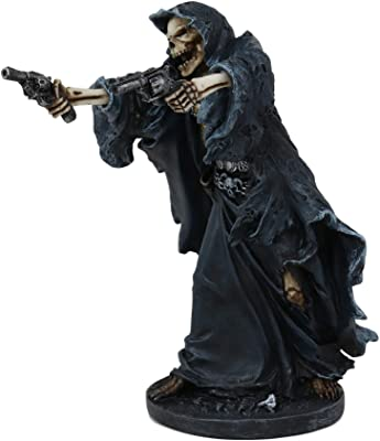"Ebros Gift Gothic Grim Reaper Skeleton Assassin with Dual Pistols Figurine 9"" Tall Day of The Dead DOD Skulls Ossuary Macabre Graveyard Spooky Halloween Death Reapers Decor Statue"