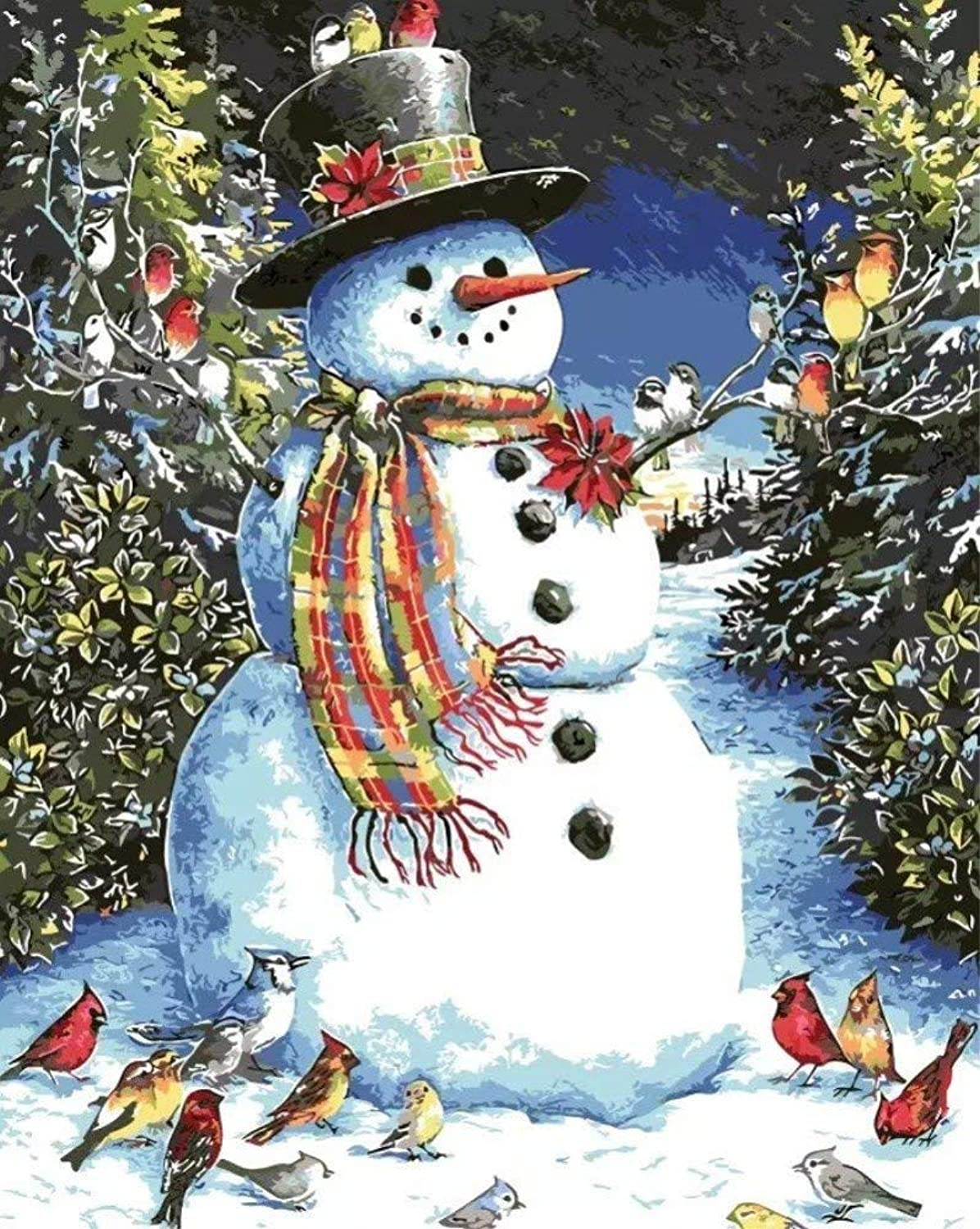 Malen Sie Nach Zahlen Für Erwachsene DIY Winter Winter Winter Snow_ Snowman & Birds_ Frohe Weihnachten Mit Bürsten Home Decoration 40x50cm with Combination Frame B07NHLNVPG | Förderung