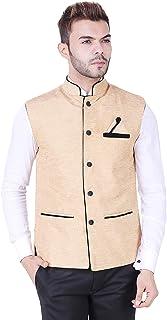 Kryptar Men's Sleeveless Cotton Ethnic Nehru Jacket with Mandarin Collar Waistcoat, Beige