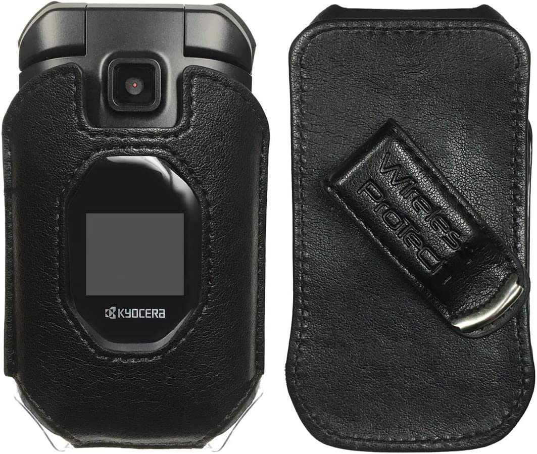 Wireless ProTech Case with Clip Compatible with Kyocera DuraXV Extreme E4810 (Verizon), DuraXE Epic E4830 (AT&T, FirstNet) Fitted Leather Case, Rotating Belt Clip, Built-in Screen Keypad Protection