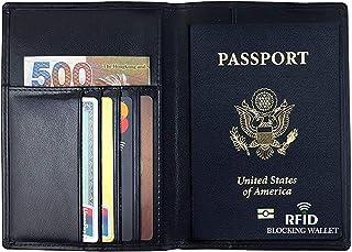 RFID Blocking Wallet, Genuine Leather Passport Holder Wallet Cover Case