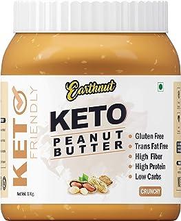 Earthnut Keto Peanut Butter Crunchy | Gluten Free | Hige Fiber | LOW CARBS (Unsweetened) (No Hydrogenated/Palm Oil) 1kg