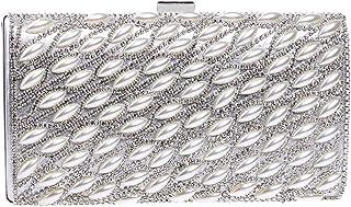 JUNfenghe Women's Diamond Pearl Dress Party Feast Dinner Package Fashion Joker Party Wedding Bride Bridesmaid Clutch Chain Shoulder Messenger Bag Size: 22 * 5 * 11.5cm (Color : Silver)