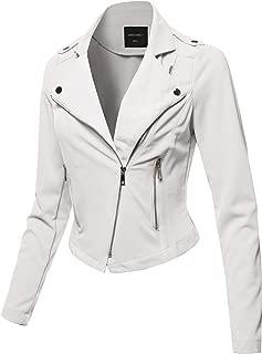 Awesome21 Women's Solid Asymmetrical Zipper Closure Long Sleeve Thin Biker Style Jacket