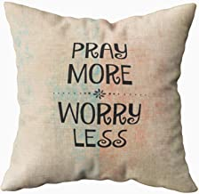 Musesh Pray More Worry Less Cushions Case Throw Pillow Cover for Sofa Home Decorative Pillowslip Gift Ideas Household Pillowcase Zippered Pillow Covers 20X20Inch
