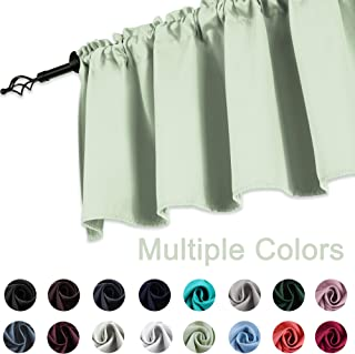 KEQIAOSUOCAI Light Green Valance 18 Inch Curtains for Windows Mint Green Valances for Girls Room 52W x 18L 1 Panel