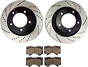 Atmansta QPD10002 Front Slotted & Drilled Rotors and Ceramic Pads Brake Kit for Toyota Land Cruiser Sequoia Tundra
