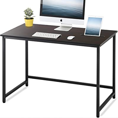 FITUEYES Black Writing Desk with Slot Wood and Metal Study Computer Desk for Home and Office