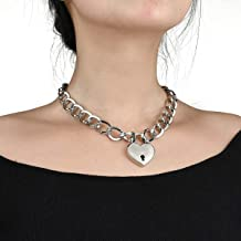 Lover Heart Padlock Necklace, Choker Necklaces for Women with Lock and Key, Metal Padlock Choker Pendant