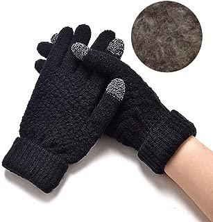 Women Warm Winter Knitted Full Finger Gloves Mittens Girl Female Solid Woolen Gloves Screen