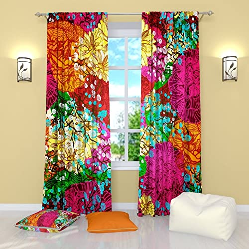 Colorful curtains for living room Colorful Window Colorful Curtains By Factory4me Abundance Of Flowers Window Curtain Set Of Panels Each W42 Amazoncom Colorful Living Room Curtains Amazoncom