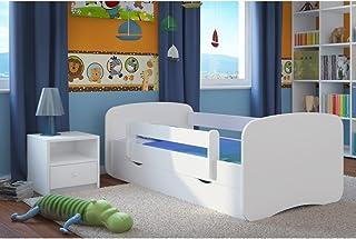 Lit d'Enfant Complet 70x140 80x160 80x180 sommier tiroir barrierèrespour Filles garçons lit Simple - Blanc - sans Motif - ...