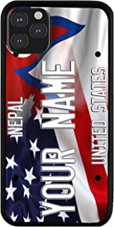 BRGiftShop Personalized Custom Name Mixed USA and Nepal Flag Rubber Phone Case for iPhone 11 Pro Max