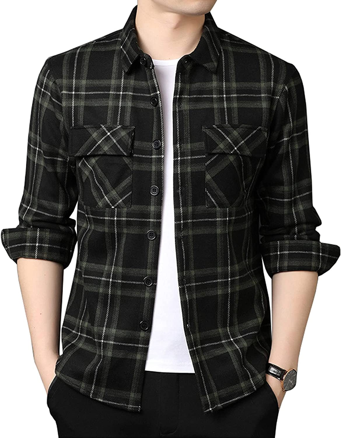 Men's Cargo Jackets Shirts Plaid Thicker Loose Casual Shirts Tooling Shirts Button-Down Collar Autumn Classic Red Plaid