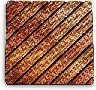 Aris 2109/Z - Tarima De Ducha Cuadrada De Madera De Gombe Impregnado Cm 75x75 para Plato Ducha Cm 90x90 - Fabricado En Italia - Color De La Madera