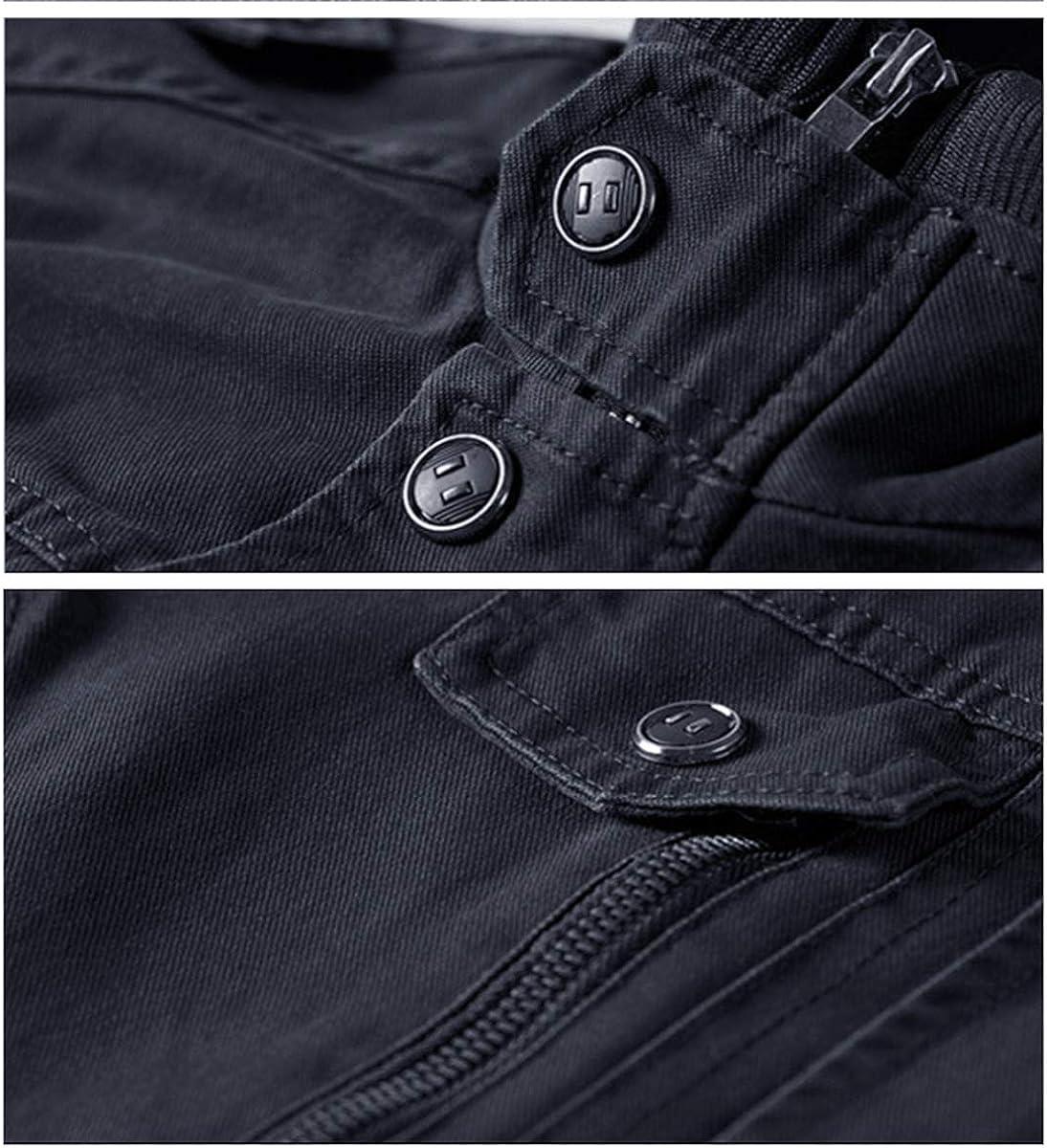 EKLENTSON Mens Fleece Lined Jackets Casual Winter Cargo Military Cotton Coat Thicken Outdoor Hiking Mountain Windbreaker Jacket with Multi Pocket