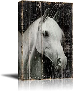 wall26 - Canvas Print Wall Art - Head of a White Horse on Rustic Style Wood Background - Gallery Wrap Modern Home Decor | Ready to Hang - 16x24 inches