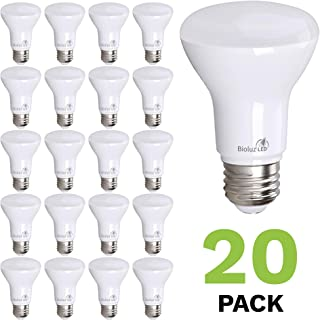 20-Pack Bioluz LED Br20 LED Bulb 7w (50w Replacement) 2700K Warm White 550 Lumen Smooth Dimmable Lamp - Indoor/Outdoor UL Listed (Pack of 20)