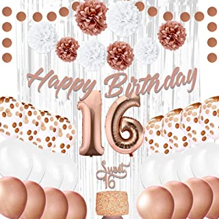 EpiqueOne 16th Birthday Party Decorations – Balloons Party Supplies Kit – Sweet 16 Rose Gold Décor with 2 Silver Curtains, Balloons, Banner, Mylar & Pompons – Royal Event Décor Props for Girls